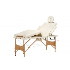 Складной 4-х секционный деревянный массажный стол BodyFit, бежевый