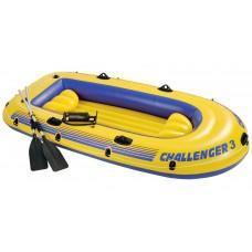 Лодка надувная трёхместная 295x137см, Challenger-3 Set, Intex 68370NP