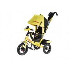 """Детский трехколесный велосипед Power с фарой, надувные колеса 12""""/10"""", цвет желтый (JP7LY)"""