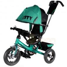 """Детский трехколесный велосипед Trike City, надувные колеса 12""""/10"""", цвет зеленый (JW7GB)"""