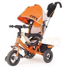 """Детский трехколесный велосипед Trike City, надувные колеса 12""""/10"""", цвет оранжевый (JW7OB)"""