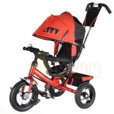 """Детский трехколесный велосипед Trike City, надувные колеса 12""""/10"""", цвет красный (JW7RB)"""