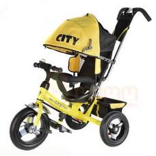 """Детский трехколесный велосипед Trike City, надувные колеса 10""""/8"""", цвет желтый (JW7Y)"""