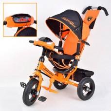 """Велосипед 3-х колесный Lamborgini с фарой, наклонная спинка, надувные колёса 12""""/10"""" оранжевый (L2BO)"""