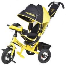"""Велосипед 3-х колесный Lamborgini надувные колеса 12""""/10"""",фара, наклонная спинка, желтый (L2Y)"""