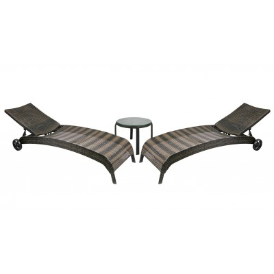 2 шезлонга и столик WICKER, Garden4you 11746, 13372