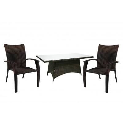 Стол и 6 стульев WICKER, Garden4you 13333, 12698