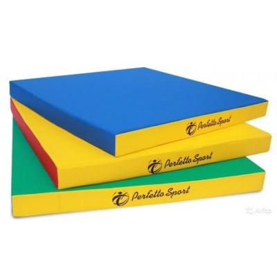 Мат гимнастический Perfetto Sport №2 100х100х10 см синий/жёлтый фото