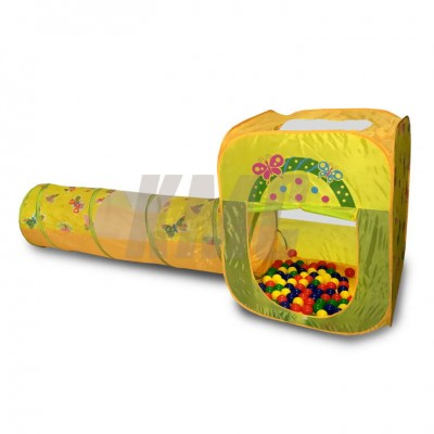 Домик игровой квадратный + туннель + 100 шариков CBH-23