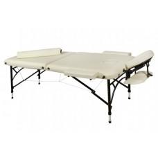 Складной 3-х секционый алюминиевый массажный стол BodyFit, бежевый XXL