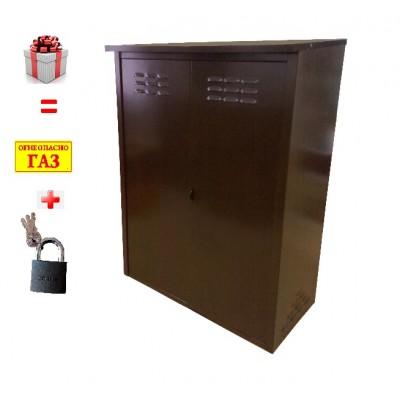 Шкаф для газовых баллонов на 2 баллона 50л (Коричневый) фото