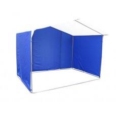 Торговая палатка Домик 2.5х2.0 м квадратная труба 20х20 мм тент ПВХ белый/синий