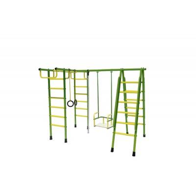 Уличный детский спортивный комплекс Лидер Д1-02 (мет. качели) зелёно/жёлтый