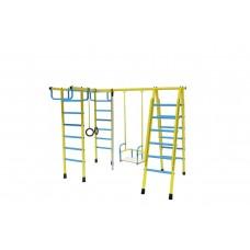 Уличный детский спортивный комплекс Лидер Д1-04 (мет. качели) голубой/жёлтый