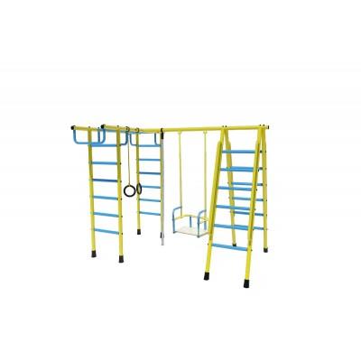Уличный детский спортивный комплекс Лидер Д1-04 (мет. качели) голубой/жёлтый фото