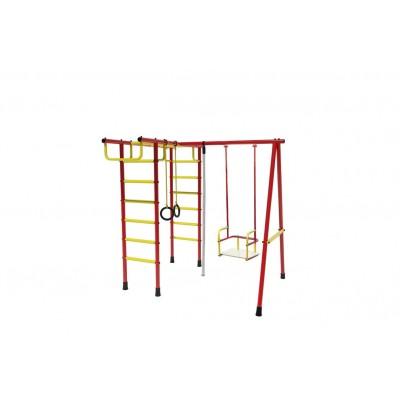 Уличный детский спортивный комплекс Лидер Д2-03 (мет. качели) красно/жёлтый