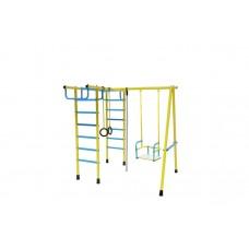 Уличный детский спортивный комплекс Лидер Д2-04 (мет. качели) голобуй/жёлтый