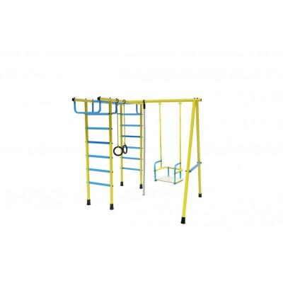 Уличный детский спортивный комплекс Лидер Д2-04 (мет. качели) голобуй/жёлтый фото