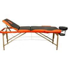 Массажный стол Atlas Sport 70 см складной 3-с деревянный чёрно-оранжевый