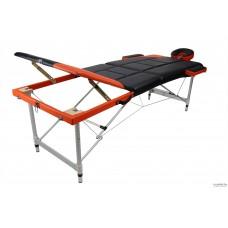 Массажный стол складной 3-с ал Atlas sport рельефный чёрно-оранжевый