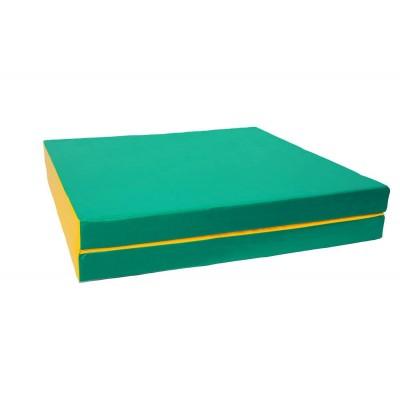 "Мат № 10 (100 х 150 х 10) складной 1 сложение ""КМС"" зелёно/жёлтый фото"
