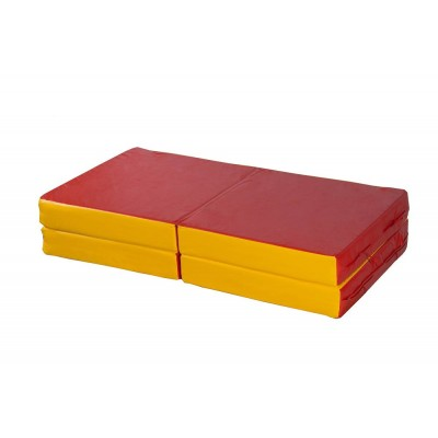 """Мат № 11 (100 х 100 х 10) складной 4 сложения """"КМС"""" красно/жёлтый фото"""