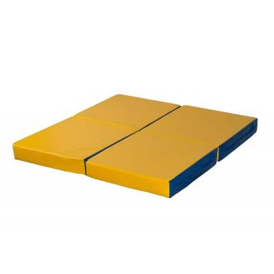 "Мат № 11 (100 х 100 х 10) складной 4 сложения ""КМС"" сине/жёлтый"