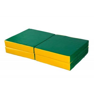 "Мат № 11 (100 х 100 х 10) складной 4 сложения ""КМС"" зелёно/жёлтый фото"