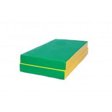 """Мат № 3 (100 х 100 х 10) складной """"КМС"""" зелёно/жёлтый"""