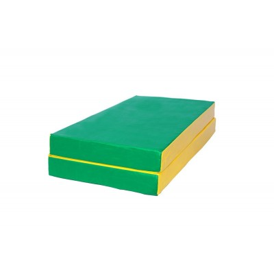 """Мат № 3 (100 х 100 х 10) складной """"КМС"""" зелёно/жёлтый фото"""