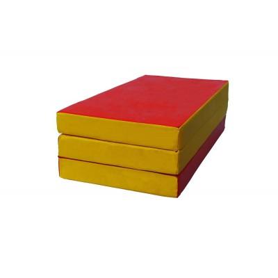 """Мат № 4 (100 х 150 х 10) складной """"КМС"""" красно/жёлтый"""