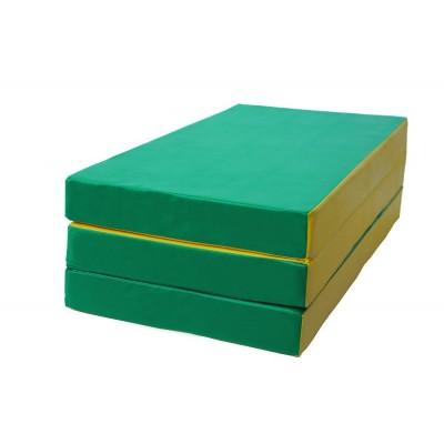 """Мат № 4 (100 х 150 х 10) складной """"КМС"""" зелёно/жёлтый"""