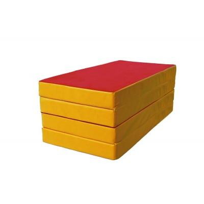 """Мат № 5 (100 х 200 х 10) складной 3 сложения """"КМС"""" красно/жёлтый фото"""