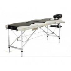 Складной 3-х секционный алюминиевый массажный стол RS BodyFit, чёрно-белый