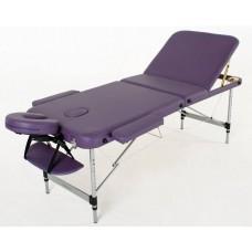 Складной 3-х секционный алюминиевый массажный стол RS BodyFit, фиолетовый