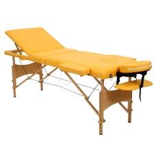 Складной 3-х секционный деревянный массажный стол RS BodyFit, жёлтый