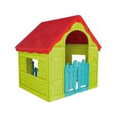 Детский игровой домик FOLDABLE PLAY HOUSE, салатовый/красная крыша