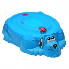 """Песочница-бассейн """"Собачка с крышкой"""" 432 голубой с голубой крышкой"""