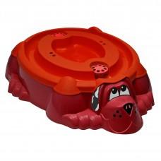 """Песочница-бассейн """"Собачка с крышкой"""" 432 красный с красной крышкой"""