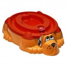 """Песочница-бассейн """"Собачка с крышкой"""" 432 красный с оранжевой крышкой"""