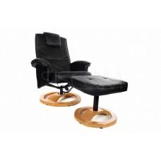 Массажное кресло с пуфом Calviano TV Комфорт (чёрное)
