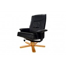 Массажное кресло с пуфом Calviano TV Relax (чёрное)