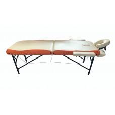 Складной 2-х секционный алюминиевый массажный стол BodyFit, бежево-оранжевый (70 см)