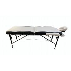 Складной 2-х секционный алюминиевый массажный стол BodyFit, черно-белый (70 см)