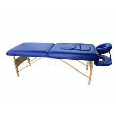 Складной 2-х секционный деревянный массажный стол BodyFit, синий (70 см)