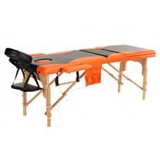 Массажный стол Atlas Sport 60 см складной 3-с деревянный + сумка в подарок (черно-оранжевый)