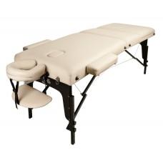 Массажный стол Atlas Sport 70 см LUX (с memory foam) складной 3-с деревянный (бежевый)