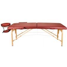 Массажный стол Atlas Sport 70 см LUX (с memory foam) складной 3-с деревянный (бургунди)