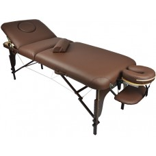 Массажный стол Atlas Sport 70 см LUX (с memory foam) складной 3-с деревянный (коричневый)