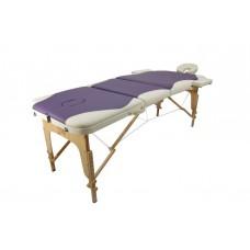 Массажный стол Atlas Sport 70 см складной 3-с деревянный (кремово-фиолетовый)